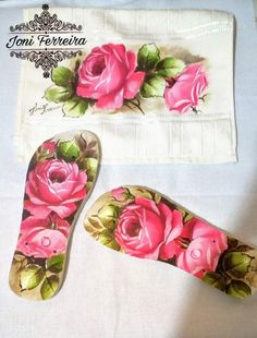 Rose Paintings, Pastel, Shoes, Decorated Flip Flops, Custom Flip Flops, Sewing Ideas, Bath Linens, Paintings, Towels