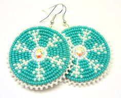 Snowflake Earrings-NATIVE AMERICAN BEADWORK. $30.00, via Etsy... i so love love these!!!