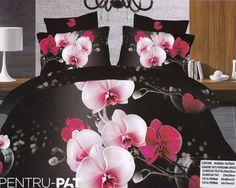Lenjerie de pat bumbac satinat Pucioasa 3D cu orhidee