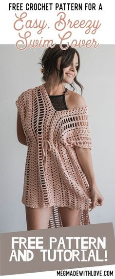 Free Crochet Pattern for Easy Breezy Swim Cover - Swimsuit Coverup - Megmade with Love