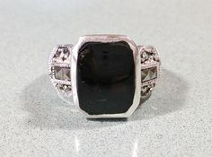 Black Onyx Silver Marcasites Vintage Sterling Ladies Ring Size 8 Gift For Her Sparkling Tapered Wide Band Fabulous Fashionable Rockin' Ring #etsy #etsyseller #etsyshop #etsyshopowner #etsyvintageseller #etsyvintage #etsyjewelry #etsygifts #etsylove #vintagearizona #vintagejewelryforsale #vintagegold #vintagesilver #goldjewelry #vintagejewellery #sterlingsilverjewelry #southwest #southwestjewelry