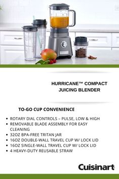With a variety of to-go tumblers in our Cuisinart Hurricane™ COMPACT Juicing Blender, you'll make it to work on time with a fresh in hand. Fried Mushrooms, Porcini Mushrooms, Cup With Straw, Blender Recipes, Juicing, Fruits And Vegetables, Vegetable Recipes, Tumblers, Food Print