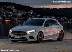 Mercedes-Benz A-Class 2019 Poster. Mercedes Maybach, Mercedes G Wagon, Mercedes C Class Estate, Mercedes Benz Classes, Classe A Amg, Merc Benz, Benz A Class, Mercedez Benz, Fast Cars