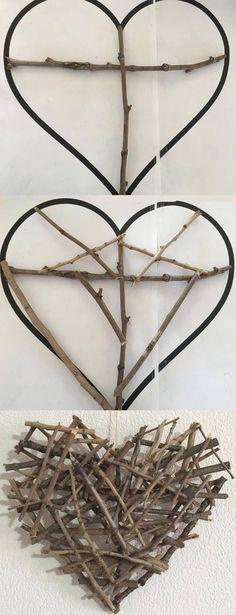 Un joli cœur en bois - Rockler: Woodworking Tools, Hardware, DIY Project Supplies & Plans Twig Crafts, Driftwood Crafts, Nature Crafts, Craft Stick Crafts, Diy And Crafts, Arts And Crafts, Kids Woodworking Projects, Woodworking Courses, Wood Projects