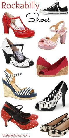 Rockabilly shoes, pin up heels, flats, Mary Janes, Converse All Stars, Keds and more.