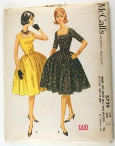 McCall's 5729 Vintage 1960s Dress Sewing Pattern Bust 32 Full Skirt and Petticoat Uncut