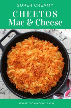 This mac and cheese recipe is ultra creamy and delicious and it has a crunchy Cheetos topping for the perfect way to complete it! Cheetos Mac And Cheese Recipe, Mac And Cheetos, Spicy Cheetos, Best Mac N Cheese Recipe, Macaroni Cheese Recipes, Best Mac And Cheese, Potato Recipes, Noodle Recipes, Baked Goat Cheese