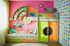 Unique wall shelves for the nursery in 26 sample images - Decoration Solutions Baby Bedroom, Girls Bedroom, Bedroom Decor, Bedroom Ideas, Kid Beds, Bunk Beds, Above Bed, Kids Room Design, Nursery Design