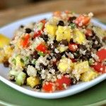 Mango and Black Bean Quinoa Salad-- I only had white and balsamic vinegar so I halved the vinegar. Yum! and healthy! a great combo (: