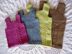 I made this vest for my friend's baby girl, but I made it in stripes (brown, robin's egg blue, and teal stripes) and I didn't do the cable. I totally plan to make this vest again, and next time try the owl or aran braid cable. It's a really adorable sweater vest!