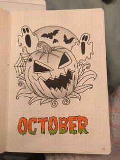 October Cover Page Bullet Journal Calendrier, Bullet Journal Halloween, Bullet Journal And Diary, Bullet Journal Monthly Spread, Bullet Journal Ideas Pages, Bullet Journal Layout, Bullet Journal Inspiration, Journal Pages, Journals