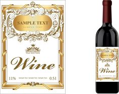 Free Wine Label Template Best Of Wine Label Template Luxury Golden Classical Decor Free Wine Bottle Design, Wine Label Design, Wine Bottle Labels, Wedding Wine Labels, Wedding Wine Bottles, Custom Wine Labels, Label Templates, Wine Packaging, Free Wedding
