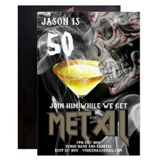 50th Heavy Metal Birthday Invite Guitar GOTH - birthday invitations diy customize personalize card party gift