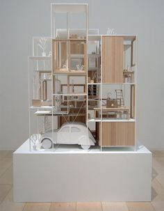 © sou fujimoto - house NA - tokyo, japan - 2011  ♦ × ARCHITECTURAL MODEL JAPANESE MODEL SOU FUGIMOTO PLASTIC PAPER AND CARDBOARD BALSA CARS PEOPLE GREENERY 2010|14