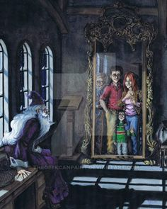 Purple-bedecked Albus Dumbledore looking into the Mirror of Erised and seeing a very young Harry and his family. Fanart Harry Potter, Harry Potter More, Arte Do Harry Potter, Harry Potter Outfits, Harry Potter Facts, Harry Potter Quotes, Harry Potter Universal, Harry Potter Hogwarts, Harry Potter Illustrations