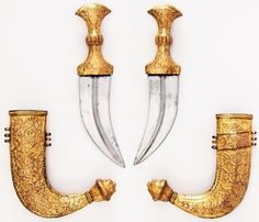 Indian jambiya, 19th century, steel, copper, gold, wood, H. with sheath 10 in. (25.4 cm); H. without sheath 9 5/16 in. (23.7 cm); H. of blade 5 1/2 in. (14 cm); W. 2 1/16 in. (5.2 cm); Wt. 6.5 oz. (184.3 g); Wt. of sheath 8.1 oz. (229.6 g), Met Museum.