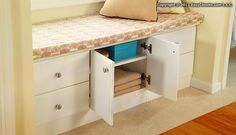 Tip of the Day: Create storage space where there isn't any by installing shelving and drawers into a bench.