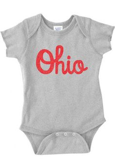 Ohio Script Infant One Piece buckeyes state college football band baby boy girl clothing newborn 0-3 3-6 6-12 12-18 18-24 months 64 on Etsy, $11.00