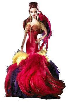 "Barbie® doll presents a perfect picture of the sophisticated woman, inspired by a most colorful parrot but completely committed to couture. Yellow, purple, and red feathers lavishly embellish the hem of the striking silk shantung gown. A scarlet macaw ""bird"" sits atop the doll's shoulder, tethered by a golden cord."