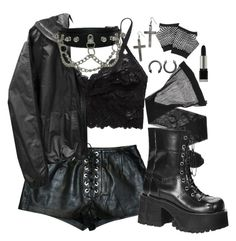 """""""I wanna outrace the speed of pain for another day."""" by siennabrown ❤ liked on Polyvore featuring Forever 21, Giorgio Armani, Demonia, Dark, goth, alternative, tradgoth and gothgoth"""
