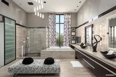 Modern Master Bathroom with Saturnia Travertine Countertop, Wall sconce, Drop-In…