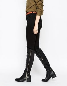 Truffle Collection Zip Flat Knee Boots