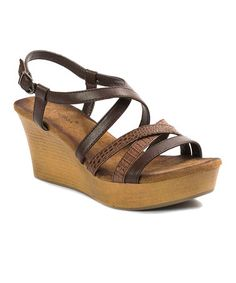 Look what I found on #zulily! Brown Brooke Wedge Sandal #zulilyfinds