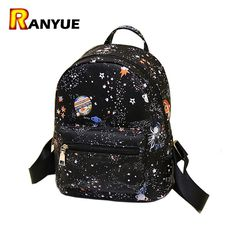Fashion Star Universe Space Printing Backpack Black School Bags For Teenage  Girls Small Backpack Women Leather Mochila Escolar  831b1e4151a44