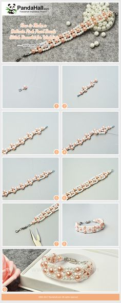 Delicate Pink Pearl Beads Stitch Bracelet for Wedding It is known that pearls are the main materials for the wedding jewelry. Today we teach you to make a delicate pink pearl beads stitch bracelet. #pandahall #diy #howto #freetutorial #pearlbracelet #weave #stitch #beadingpattern