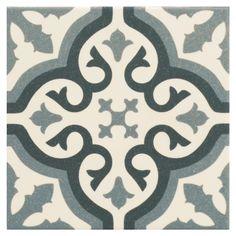 Centro Florentine Blue Glazed Ceramic Decor Tile - Floor Tiles - Shop By Tile Type - Tiles Terrazzo Tile, Tile Floor, Style Parisienne, Cottage Renovation, Art Moderne, Ceramic Decor, Decorative Tile, Exposed Brick, Glazed Ceramic