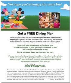 FREE DINING PLAN OFFER AT SELECT WALT DISNEY WORLD RESORT HOTELS | Vacation With The Magic