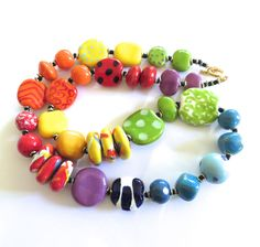 Beaded Necklace Kazuri Beads  Fair Trade by lizbriggsdesigns, $54.00