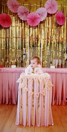 Petal & Gold First Birthday Throne | Crepe Paper and Garland | Minnow + Co
