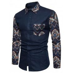 Free shipping 2018 Pocket Floral Blue Fabric Spliced Long Sleeve Shirt MIDNIGHT BLUE M under $21.28 in Shirts online store. Best Pocket Shorts and Pocket Pants for sale at Dresslily.com.