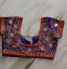 Purple Color Heavy Mirrors Blouse | Saree Blouse Patterns