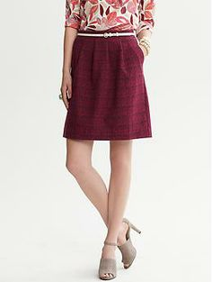 Banana Republic. Pleated Tweed Skirt. $85.50. A pretty tweed skirt in a flattering A-line cut.
