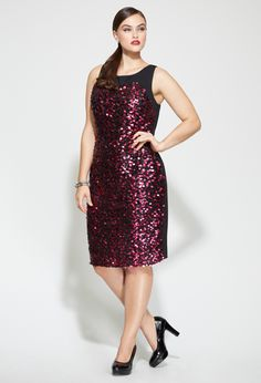 2498b587e18 Avenue Plus Size Sleeveless Sequin Sheath Dress (Ulla Popken has shoes like  that and they come in wide for American feet!