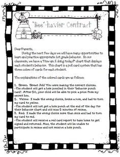 Behavior contract; it's a great way to let kids know what you expect from them, as well as keep in touch with parents!