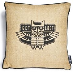 Sourpuss Clothing Get Lost Pillow ($20) ❤ liked on Polyvore featuring home, home decor, throw pillows, burlap home decor, burlap throw pillows, owl throw pillow, owl home decor and graphic throw pillows
