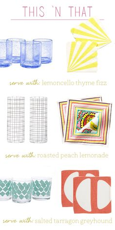 the perfect glass + cocktail napkin combos for your favorite summer drink recipes!