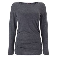 Buy Phase Eight Grace Gathered Top, Charcoal Online at johnlewis.com