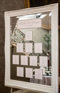 Large White Vintage Mirror Table Plan - Image by Mike Garrard - Classic White Wedding At Hedsor House Buckinghamshire With Bride In Augusta Jones Gown With Rachel Simpson Shoes And Bridesmaids In Antique Rose Maids To Measure Gowns With Groom In Bespoke S Mirror Seating Chart, Table Seating Chart, Wedding Table Seating, Reception Seating, Wedding Table Planner, Wedding Planning, Event Planning, Wedding Frames, Wedding Signs