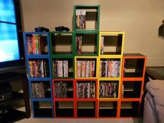 tetris - could be awesome depending on the decorating scheme. if i did this, it probably wouldn't be for dvds/video games on account of i don't have many (and i'm not a gamer...don't poke fun!)