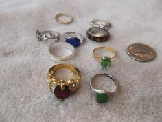9 Assorted Vintage Rings Lot 24 by GlamourGalStuff on Etsy, $8.99