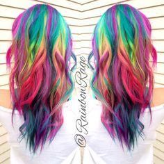 Pretty pastel rainbow ombré hair.