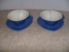 Set of 2  Mary Kay Blue Heart Shaped Porcelain Tea Cups and Saucers! EUC!