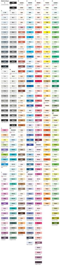 Copic Sketch Marker Color Chart