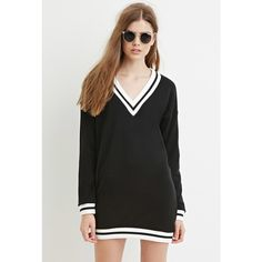 Love 21 Love 21 Women's  Contemporary Varsity-Striped Sweatshirt Dress ($28) ❤ liked on Polyvore featuring dresses, stripe dress, sleeve dress, love 21, sweatshirt dress and striped dress