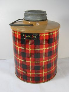 Vintage SKOTCH JUG Red Plaid Drink COOLER by LavenderGardenCottag, $22.00