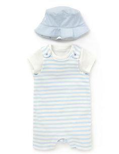 2 Piece Pure Cotton Dungaree Outfit with Hat Clothing
